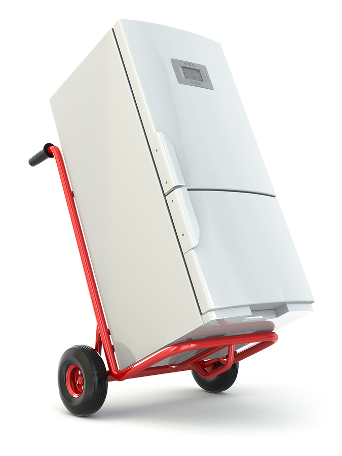 Moving and storage photo of refrigerator on a dolly
